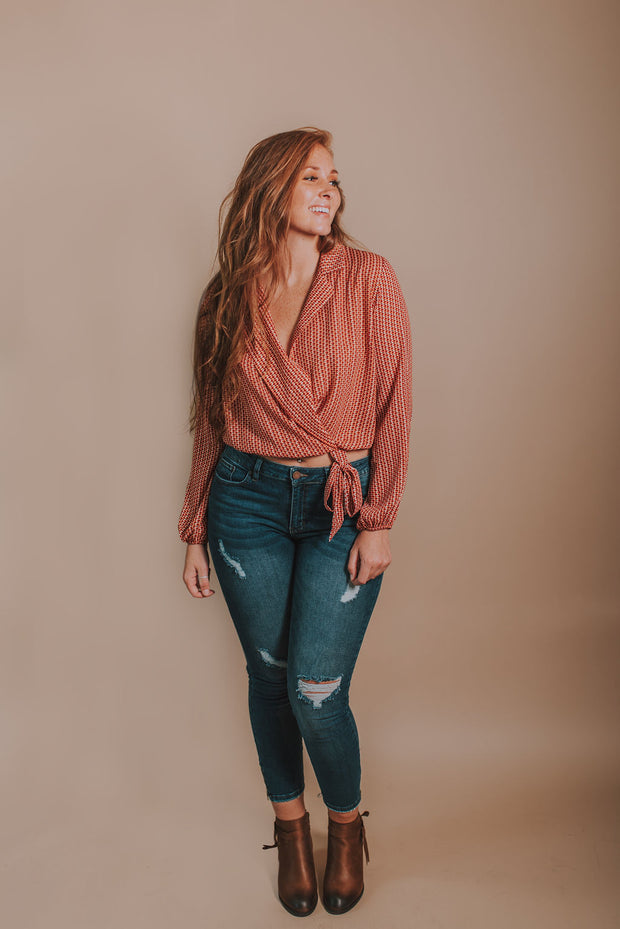 Long Sleeve Geometric Top With Self Tie In Black, Coral And Rust - Phoebe Jane