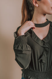 V Neck Choker Strap Top With Ruffle And Smocking Detail In Olive - Phoebe Jane