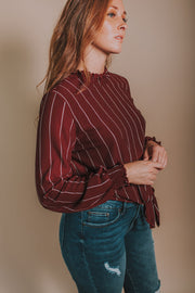 Woven Stripe Smocked Mock-Neck Top In Burgundy - Phoebe Jane