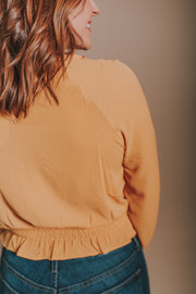 V Neck Choker Strap Top With Ruffle And Smocking Detail In Mustard - Phoebe Jane
