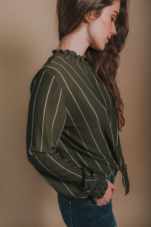 Woven Stripe Smocked Mock-Neck Top In Olive - Phoebe Jane