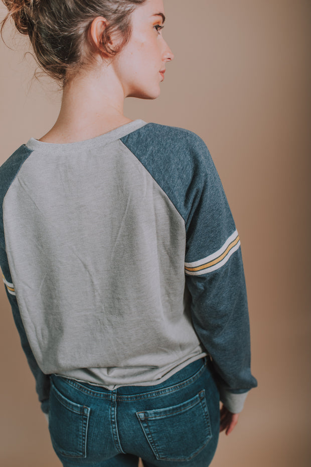 Hem And Thread - Tie Waist Banded Sleeve Sweatshirt In Grey Multi - Phoebe Jane