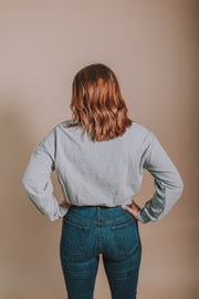 Belted French Terry Top In Heather Grey - Phoebe Jane