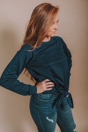 Long Sleeve French Terry Shirt With Front Tie In Dark Navy - Phoebe Jane