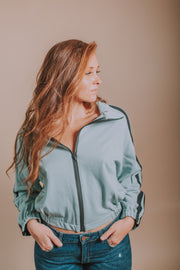 French Terry Jacket With Contrasting Front Zip In Sage - Phoebe Jane