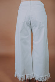High Rise Wide Cropped Trouser Jeans With Waist Belt & Fringe Hem In White - Phoebe Jane