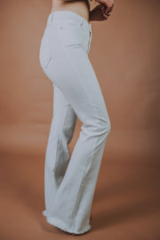 Just Black Denim - High Rise Frayed Flare Hem Jeans In White - Phoebe Jane