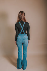 2-Button Garter Flare Denim Overalls - Phoebe Jane