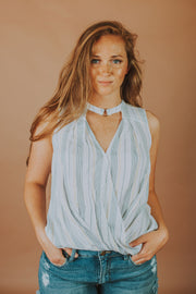 Sleeveless Top with Neck Banding Ring In White And Navy - Phoebe Jane