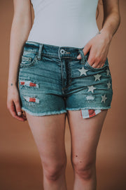 Flag Destructed Hem Denim Shorts - Phoebe Jane