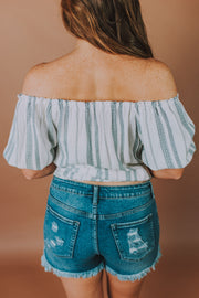 3/4 Sleeve Off Shoulder Top In White And Navy - Phoebe Jane