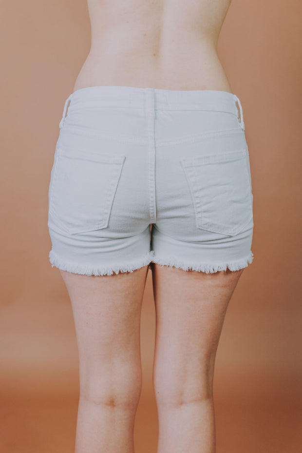 Mid Rise Frayed Hem Shorts  In White - Phoebe Jane