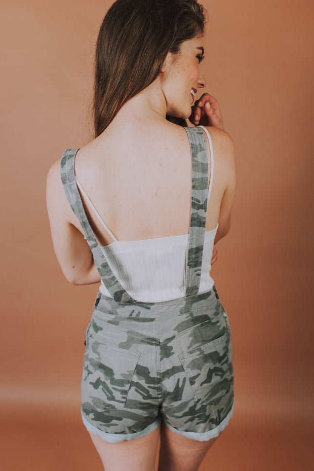 Shortall With Cuff Hem In Camo - Phoebe Jane