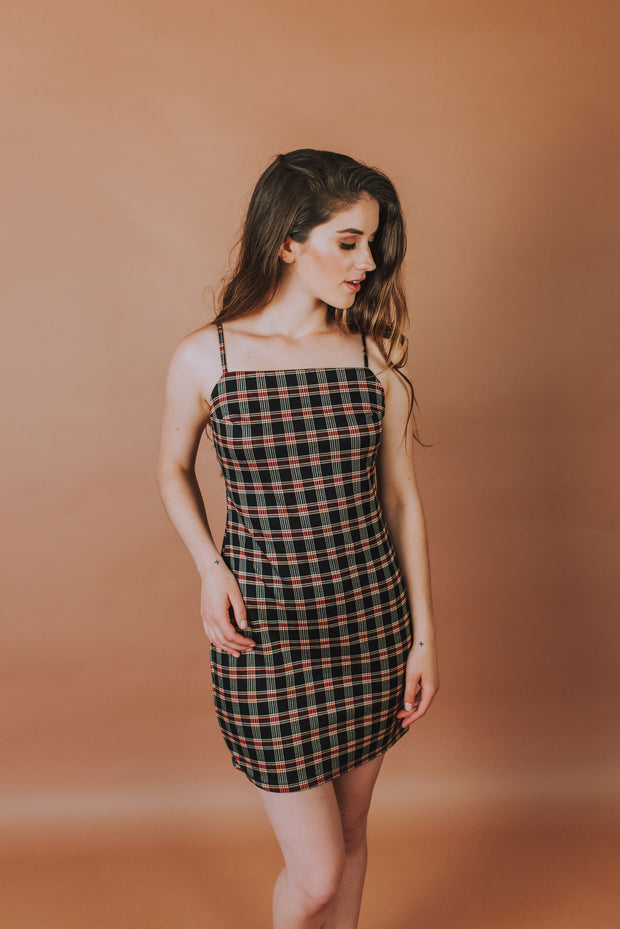 Plaid Mini Dress In Midnight And Red Plaid - Phoebe Jane