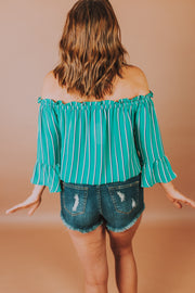 Off Shoulder 3/4 Sleeve Striped Top With Elastic Waist And Front Tie Detailing In Green - Phoebe Jane