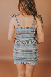 Storia - Smocked Elastic Ruffle Strap Front Lace Up Crop Top In Blue And Multi Stripe - Phoebe Jane