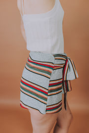 High Waisted Shorts with Front Tie Detail In Grey And Multi Stripe - Phoebe Jane