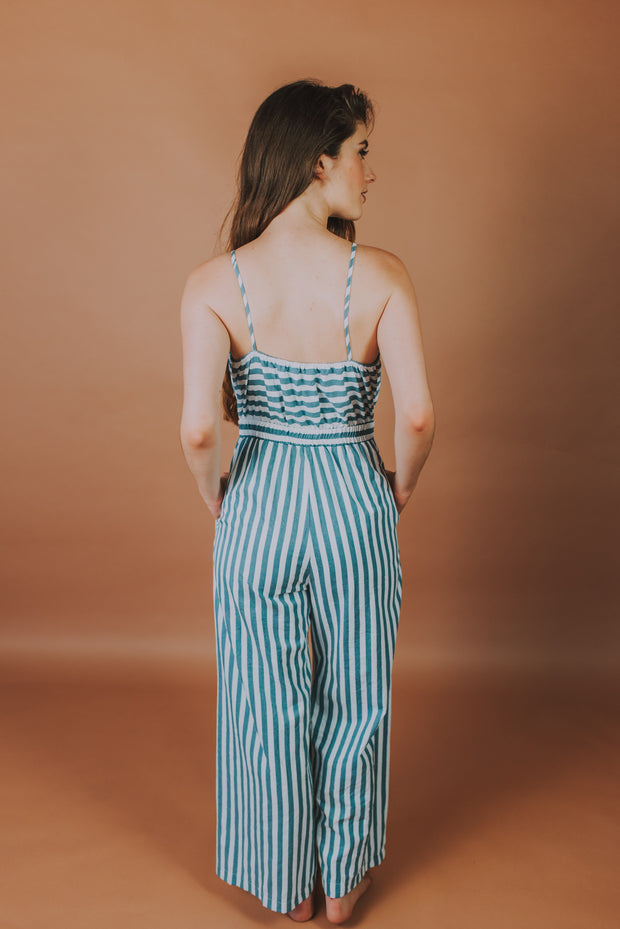 Storia - Cotton Stripe Jumpsuit In Blue And White Stripe - Phoebe Jane