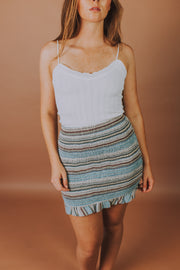Storia - Smocked Elastic Ruffle Hem Detail Mini Skirt In Blue And Multi Stripe - Phoebe Jane