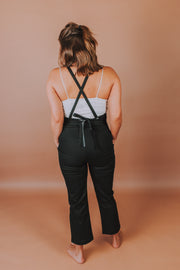 SugarLips - Finn Woven Overalls With Back Zip and Tie Closure In Black - Phoebe Jane