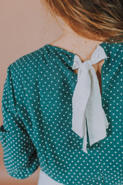 Woven 3/4 Sleeve Polka Dot Top In Canton And White - Phoebe Jane