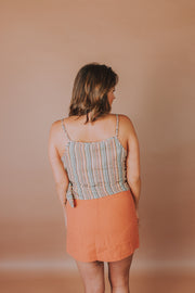 Sleeveless Multi Stripe Wrap Tank Top With Wooden Buckle Detail - Phoebe Jane