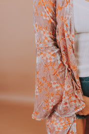 Long Sleeve Floral Kimono Jacket In Blush And Pink - Phoebe Jane