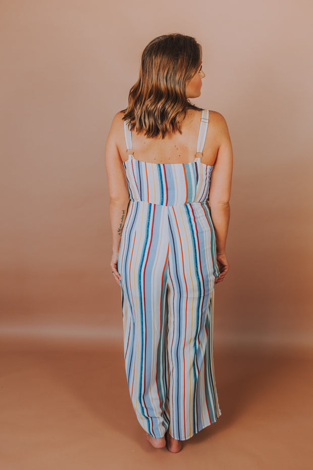 Sleeveless Striped Jumpsuit With Front Twist In Lavender Multi - Phoebe Jane
