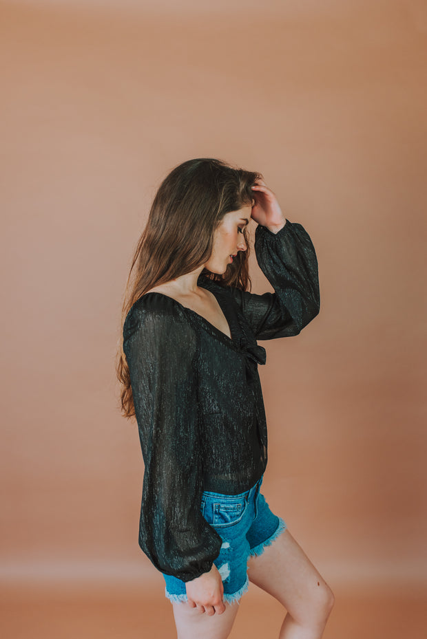 Semi Sheer Long Sleeve Woven Top With Front Tie Knot Detailing In Black - Phoebe Jane