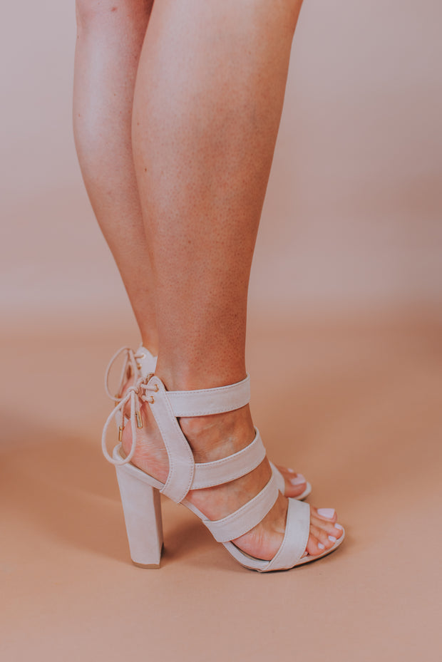 Block High Heel Sandal In Light Blush - Phoebe Jane