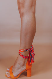 Multi Color Ankle Tie Block Heel In Ginger - Phoebe Jane