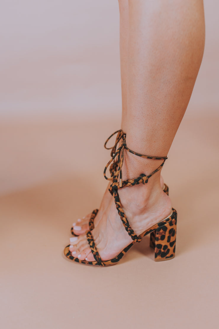 Braided Strap Block Heel Sandal In Lepoard - Phoebe Jane