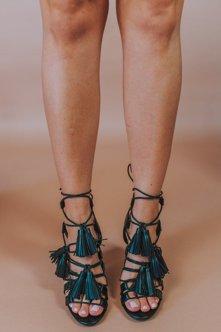 Lace-Up Tassel Detailed High Heel In Black - Phoebe Jane