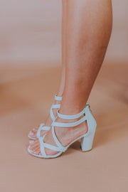 Strap Block Heel Sandal In White - Phoebe Jane