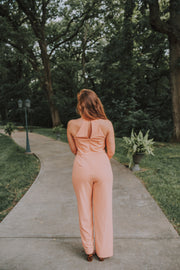 SugarLips - Anguilla Halter Neck Jumpsuit In Salmon - Phoebe Jane