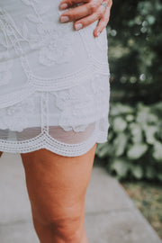 Lace Scallop Hem Skirt In Off White - Phoebe Jane