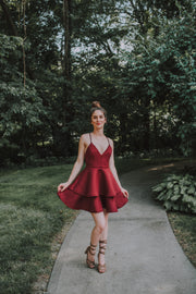 Double Flounce Ruffle Mini Dress In Burgundy - Phoebe Jane