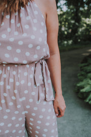 SugarLips - Paula Polkadot Sleeveless Jumpsuit In Mauve And White Polkadots - Phoebe Jane