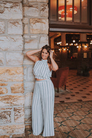 Crop Halter Neck Top and Wide Leg Pants Set In Off White - Phoebe Jane