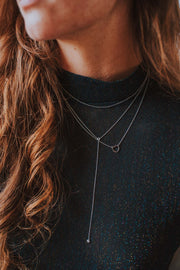 Raindrop Lariat Necklace In Silver - Phoebe Jane