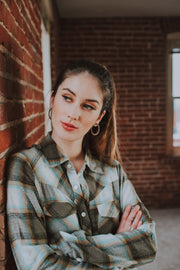 Blue And Brown Plaid Snap Front Shirt - Phoebe Jane