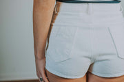 High Waisted Denim Shorts With Star Pocket In White - Phoebe Jane