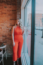 Sleeveless Halter Jumpsuit In Red - Phoebe Jane