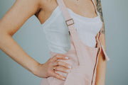 Frayed Hem Denim Overall Shorts In Peach - Phoebe Jane