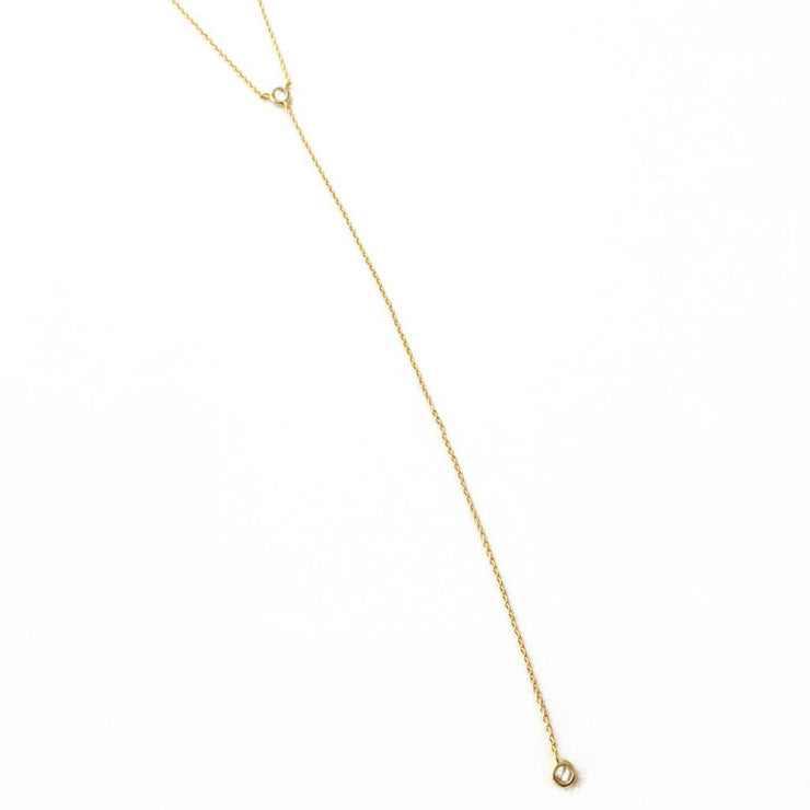Raindrop Lariat Necklace In Gold - Phoebe Jane