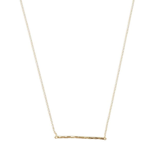 Hammered Classic Bar Necklace In Gold - Phoebe Jane