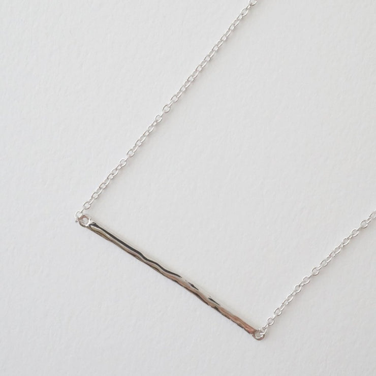 Hammered Classic Bar Necklace In Silver - Phoebe Jane