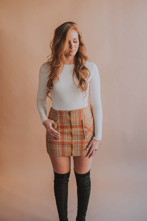 Plaid Double Pocket Zip Front Mini Skirt - Phoebe Jane