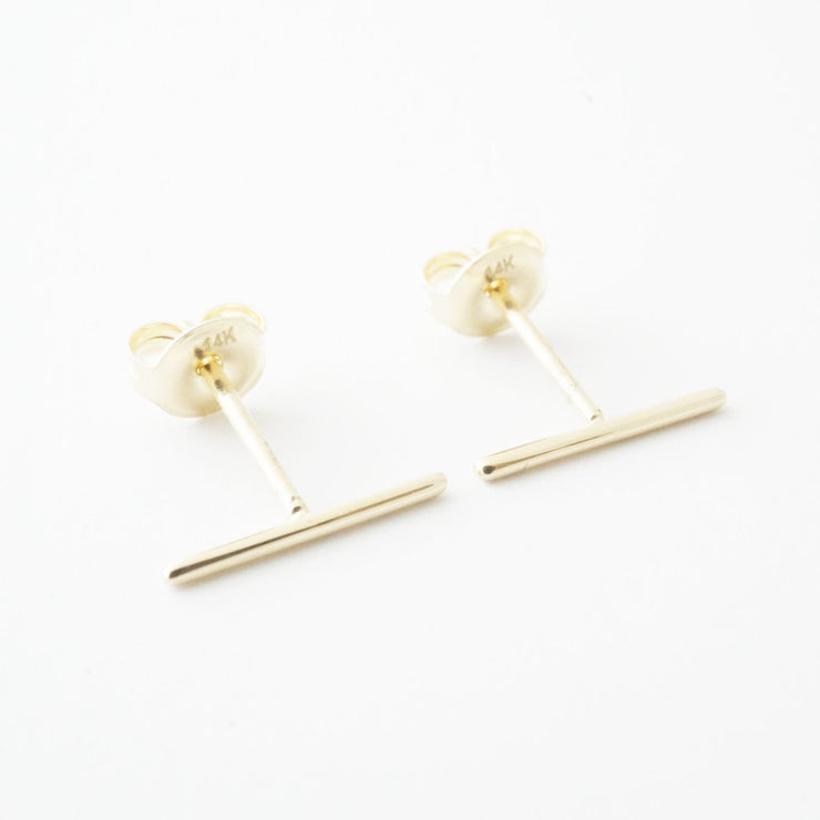 Skinny Midi Bar Earrings In 14K Gold - Phoebe Jane
