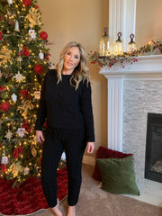 Cable Knit Sweater Lounge Pants In Black - Phoebe Jane